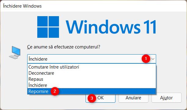 Cum repornești Windows 11 din fereastra Închidere Windows