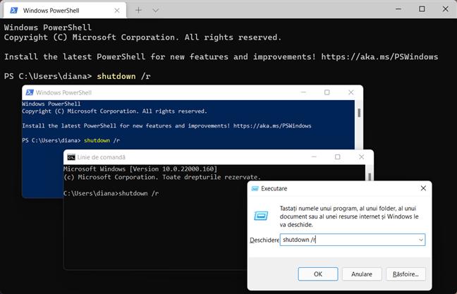 Folosește comanda de repornire din Windows în aplicația pe care o preferi