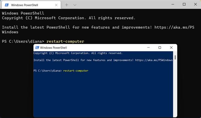 Repornește Windows 11 folosind PowerShell și Windows Terminal