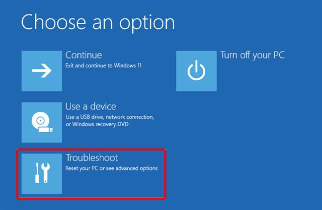Pentru a ajunge la Safe Mode în Windows 11, selectează Troubleshoot (Depanare)