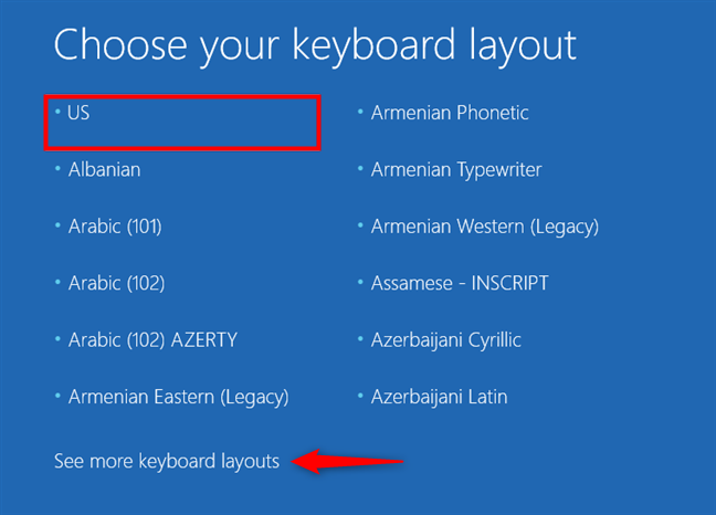 Alegerea tipului de tastatură pentru unitatea de recuperare