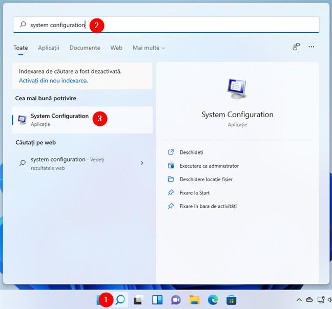 Căutarea după System Configuration (msconfig)