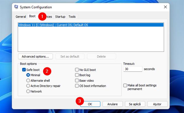 Pornește în Safe Mode folosind System Configuration (msconfig)