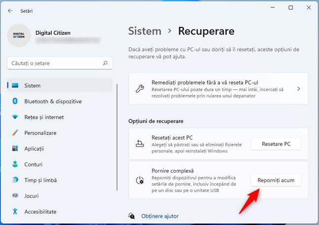 Opțiuni de recuperare pentru Windows 11