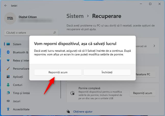 Windows 11 vrea să îți repornească PC-ul
