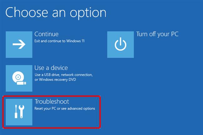 Troubleshoot Windows 11: Resetare PC sau vizualizare opțiuni complexe