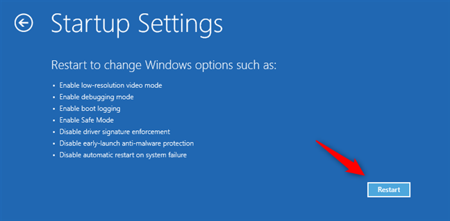 Startup Settings: Alege Restart pentru opțiunile Windows 11 Safe Mode