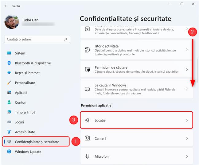 Selectează Confidențialitate și securitate, apoi Locație