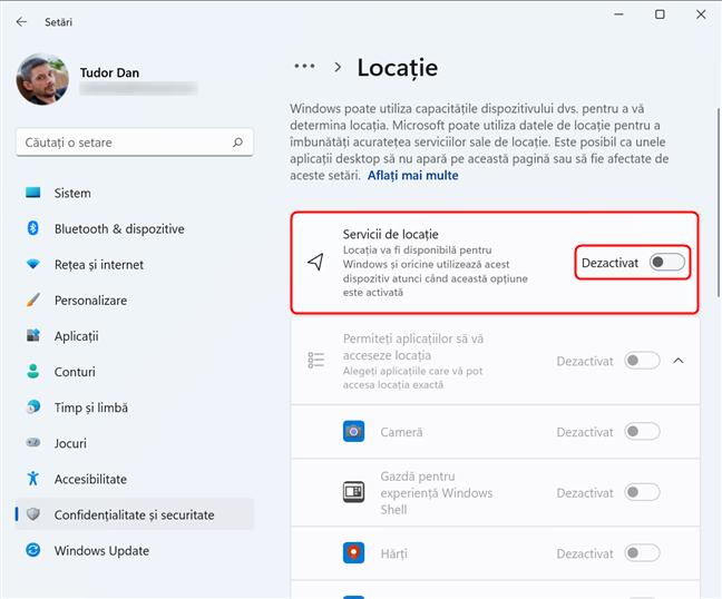 Activează și dezactivează Serviciile de locație pentru Windows 11