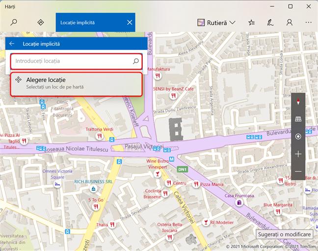 Introdu adresa sau alege o poziție pe hartă