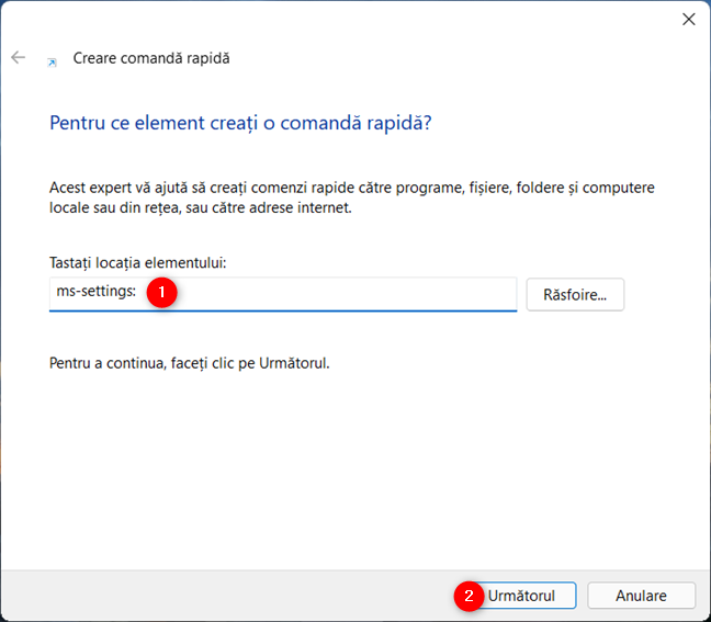 Tastează ms-settings: și apasă pe Următorul