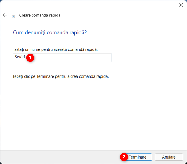Termină crearea scurtăturii către Setări în Windows 11