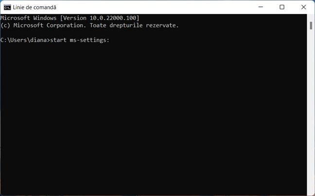 Deschide Setări în Windows 11 cu CMD