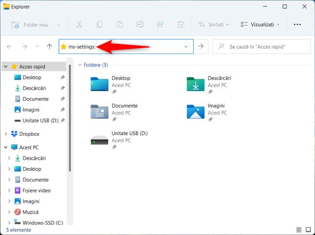 Cum deschizi Setările din Windows 11 folosind Explorer