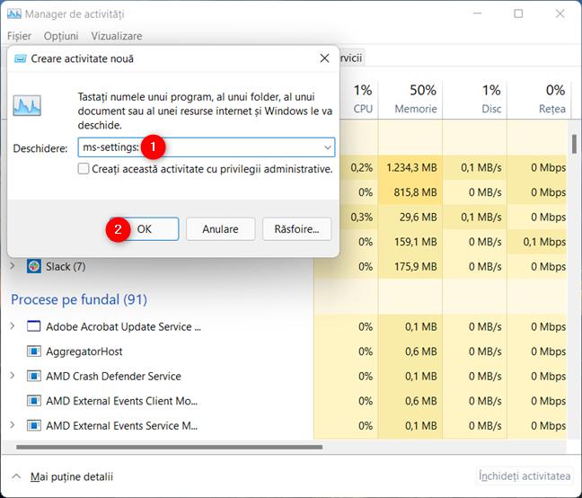 Introdu ms-settings: și apasă OK pentru a deschide Setările din Windows 11