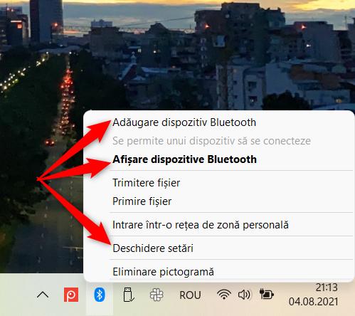 Pornește Setările din Windows 11 de la meniul contextual Bluetooth