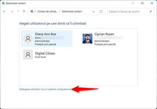 Apasă pe link pentru a deschide Setările din Windows 11
