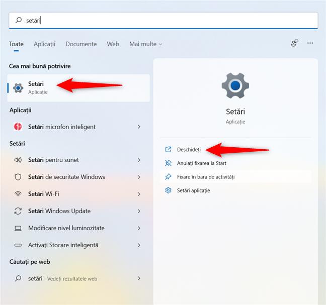 Cum deschizi Setări folosind Căutarea din Windows 11