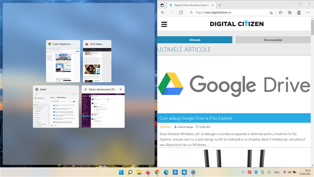 Fixează o aplicație în stânga sau dreapta ecranului