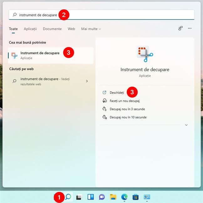 Cum deschizi Instrumentul de decupare folosind căutarea din Windows 11