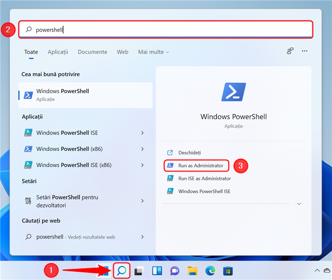 Rulează Windows PowerShell ca administrator