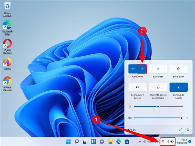 Deschide meniul Setări Rapide în Windows 11