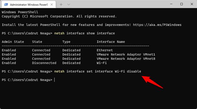 Comanda care dezactivează Wi-Fi în Windows 11