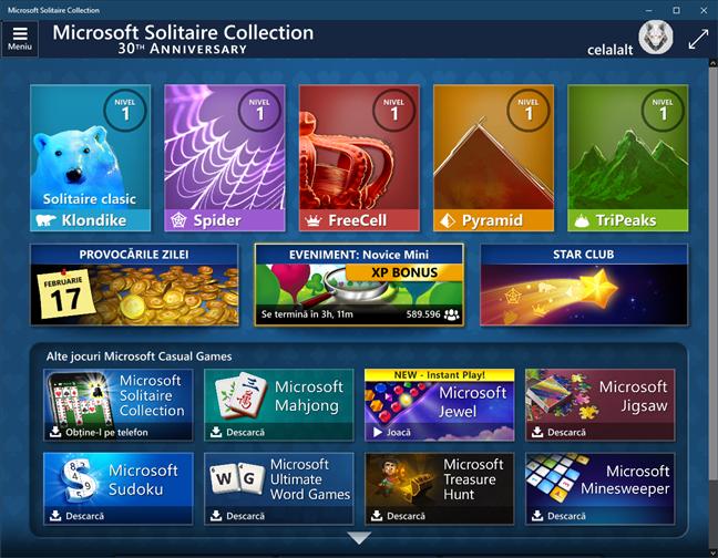 Solitaire & alte jocuri Microsoft nu sunt incluse implicit în Windows 10