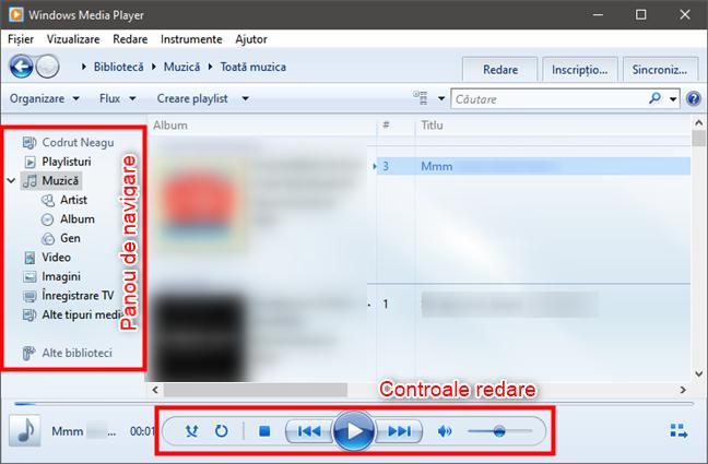 Windows Media Player: Panou de navigare și Controale redare