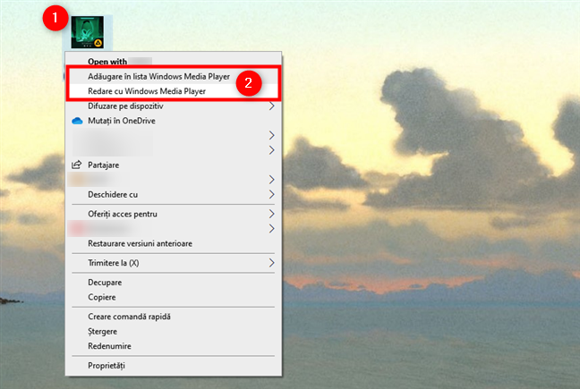 Redare în Windows Media Player de pe desktop sau dintr-un folder