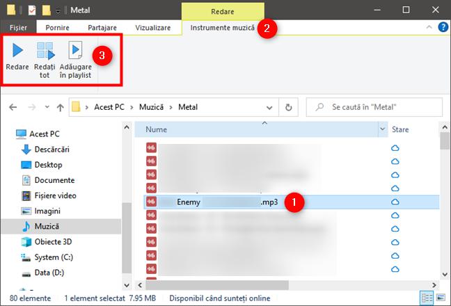 Ascultă muzică în Windows Media Player din Explorer