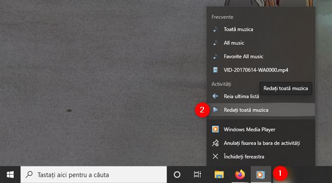 Cum să asculți toată muzica în Windows Media Player de pe bara de activități