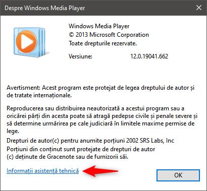 Informații asistență tehnică pentru Windows Media Player