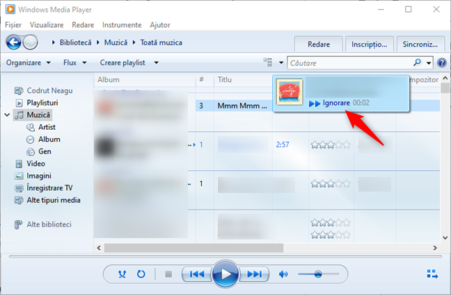 Examinare melodie (salt 15 secunde) în Windows Media Player