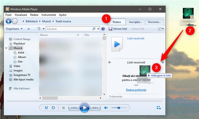 Ascultă muzică ce nu face parte din biblioteca Windows Media Player