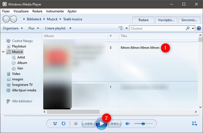 Cum asculți muzică în Windows Media Player