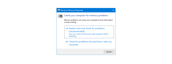 Diagnosticare Memorie Windows