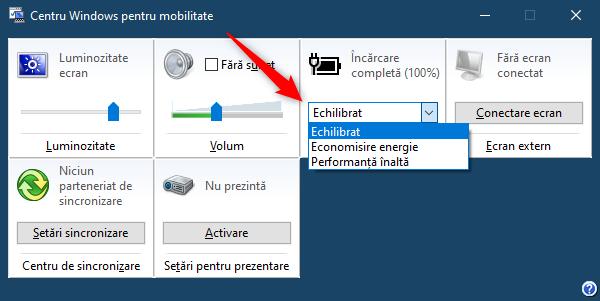 În Stare baterie din Centru Windows pentru mobilitate, poți alege planul de alimentare