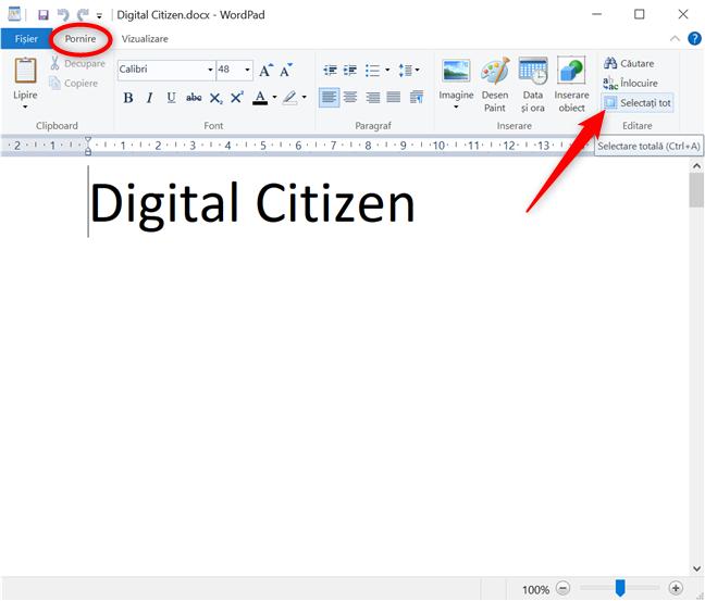 Selectați tot în WordPad