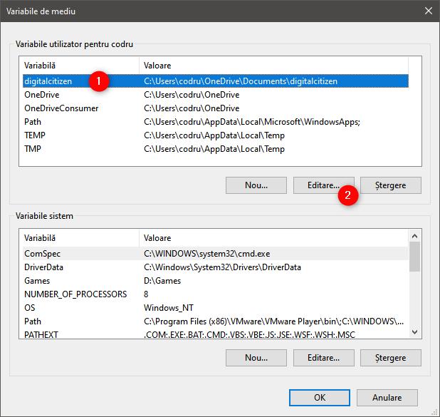 Cum editezi o variabilă de mediu în Windows 10