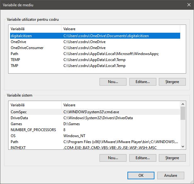 Fereastra Variabile de mediu în Windows 10