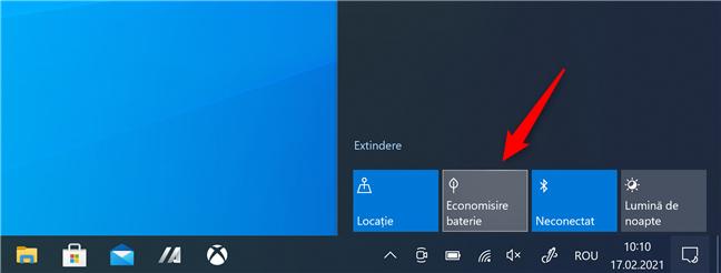 Economisire baterie în Windows 10