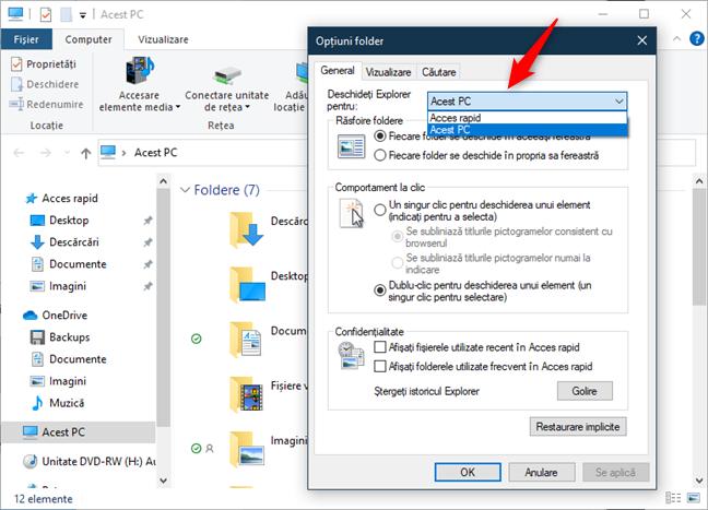 Locația de pornire a File Explorer poate fi configurată
