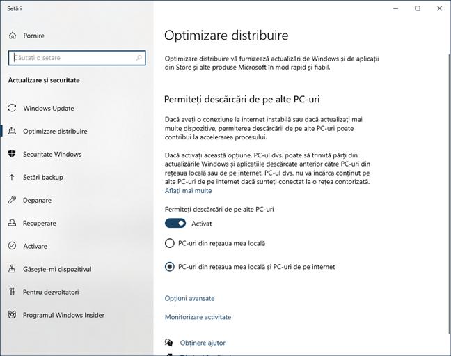 Actualizările Windows pot fi descărcate din rețeaua locală sau de pe internet