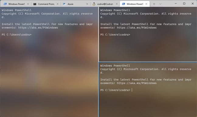 Windows Terminal împărțit în mai multe file și panouri