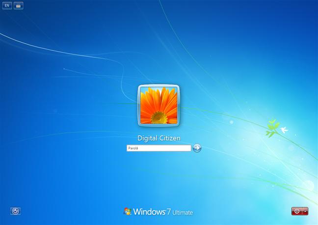 Ecran de conectare din Windows 7