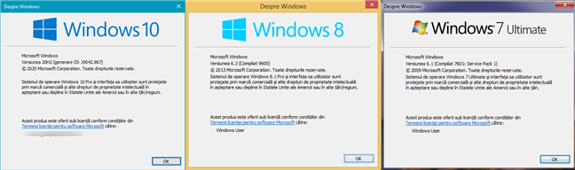 Comanda winver: Despre Windows
