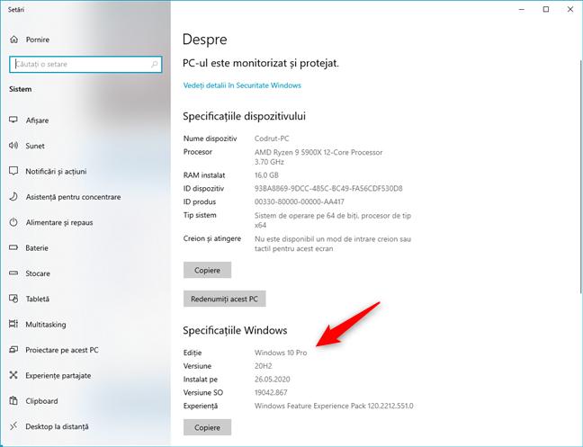 Specificații Windows în aplicația Setări