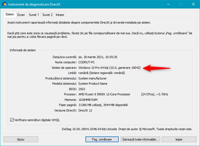Informații despre sistemul de operare, afișate de Instrumentul de diagnosticare DirectX