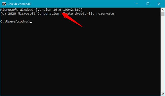 Windows 10 este afișat ca Version 10 în Linia de comandă